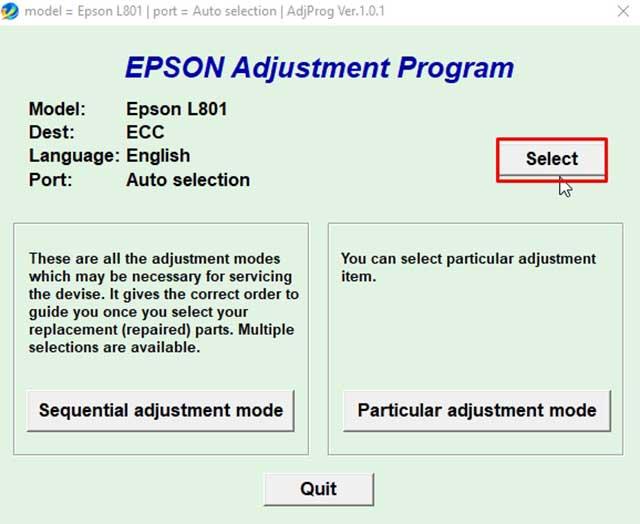 seleccionar impresora epson l801