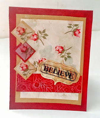 handmade and designed red roses card