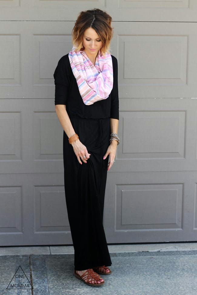 Black boyfriend maxi, striped scarf, brown sandals
