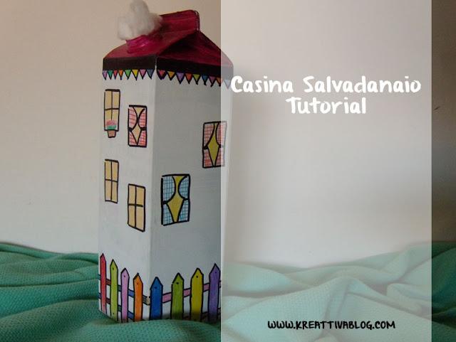 Riciclo creativo del tetra pak realizzando una casina salvadanaio