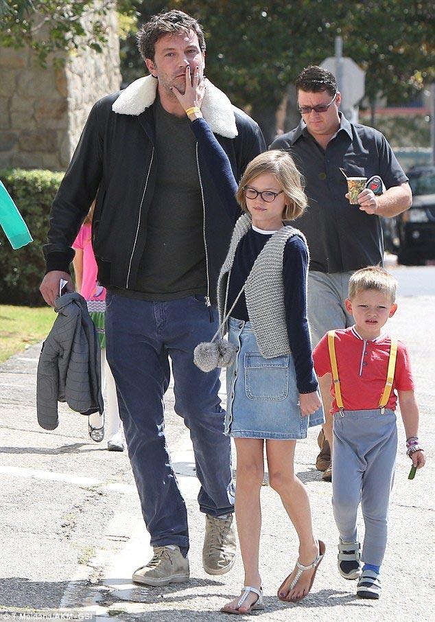 Photos: Batman actor Ben Affleck takes his children to Sunday church