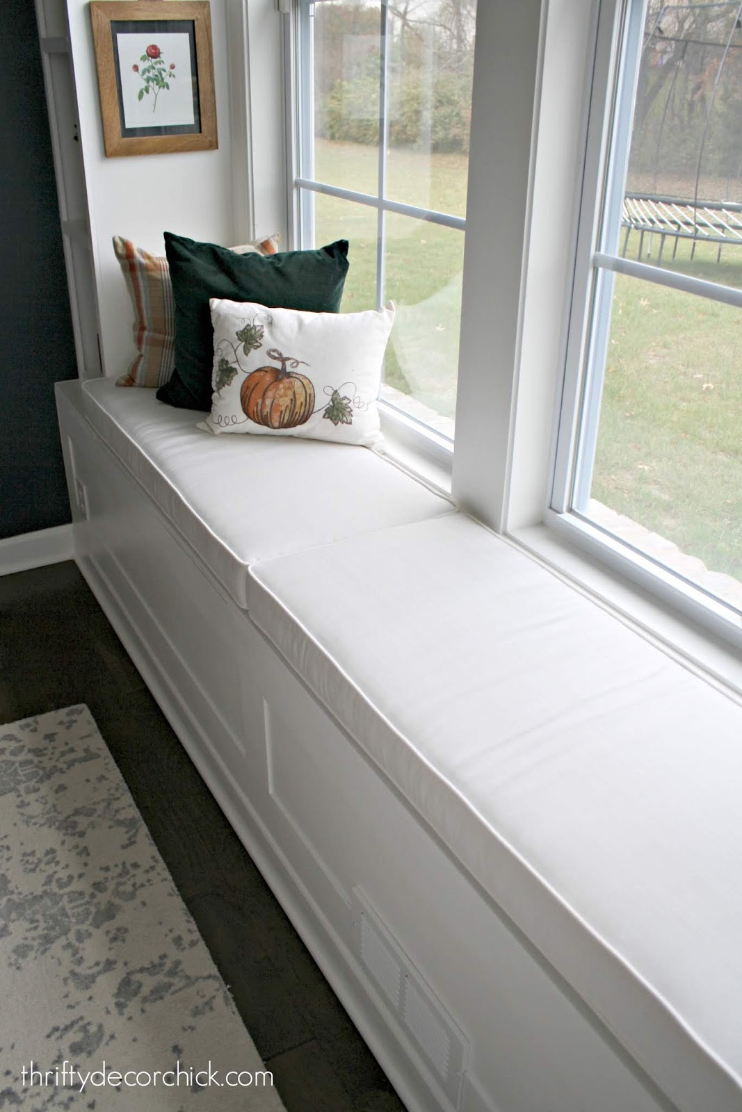 Classic cream window seat cushions
