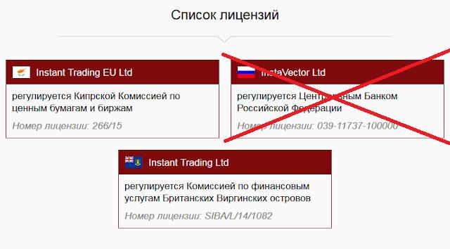 Лицензии InstaForex