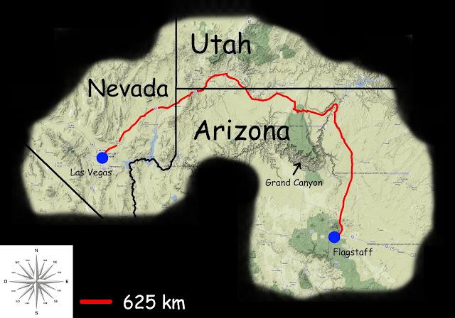 Mon parcours Las Vegas -> Flagstaff