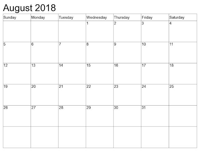 August 2018 calendar USA,