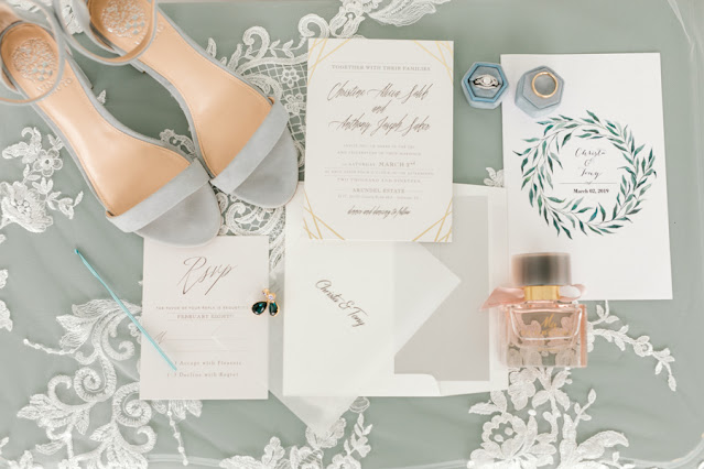 Dusty blue wedding stationary and details
