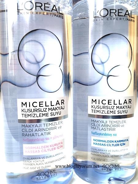 loreal paris micellar kusursuz makyaj temizleme suyu hassas ciltler için