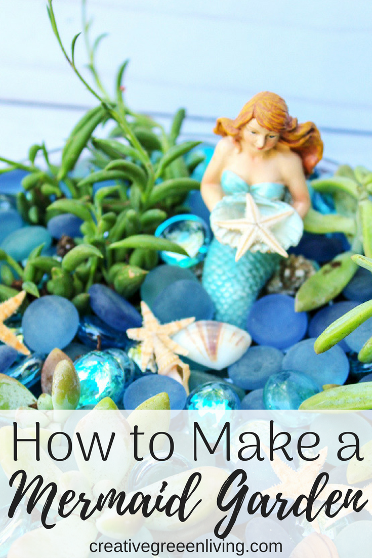 How to make a miniature DIY Mermaid fairy garden. So many cute ideas for making little gardens like this. This would be an awesome summer activity for kids or a great way to use sea glass that you find at the beach.