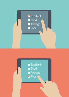 "2 handheld screens for assessments: one checks ""excellent"" and the other ""poor"""