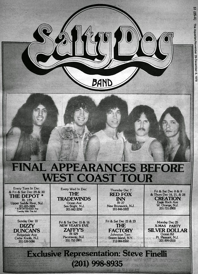 Salty Dog club schedule 1978