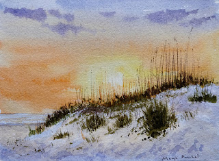 A water colour painting of sunset at the beach. By Manju Panchal