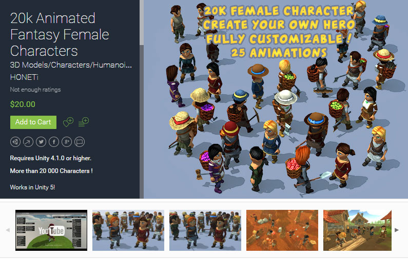 20k Animated Fantasy Female Characters Free
