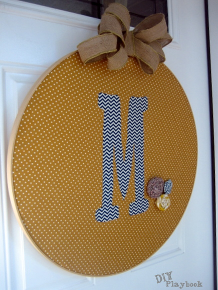 monogrammed wreath with embroidery hoop