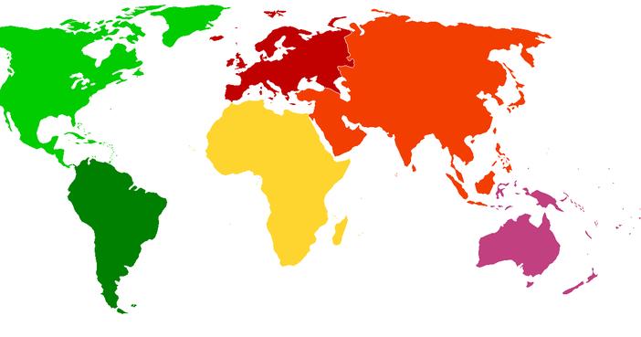 Cuales Son Los 6 Continentes Del Planisferio: 6 Continentes En Un Mapamundi