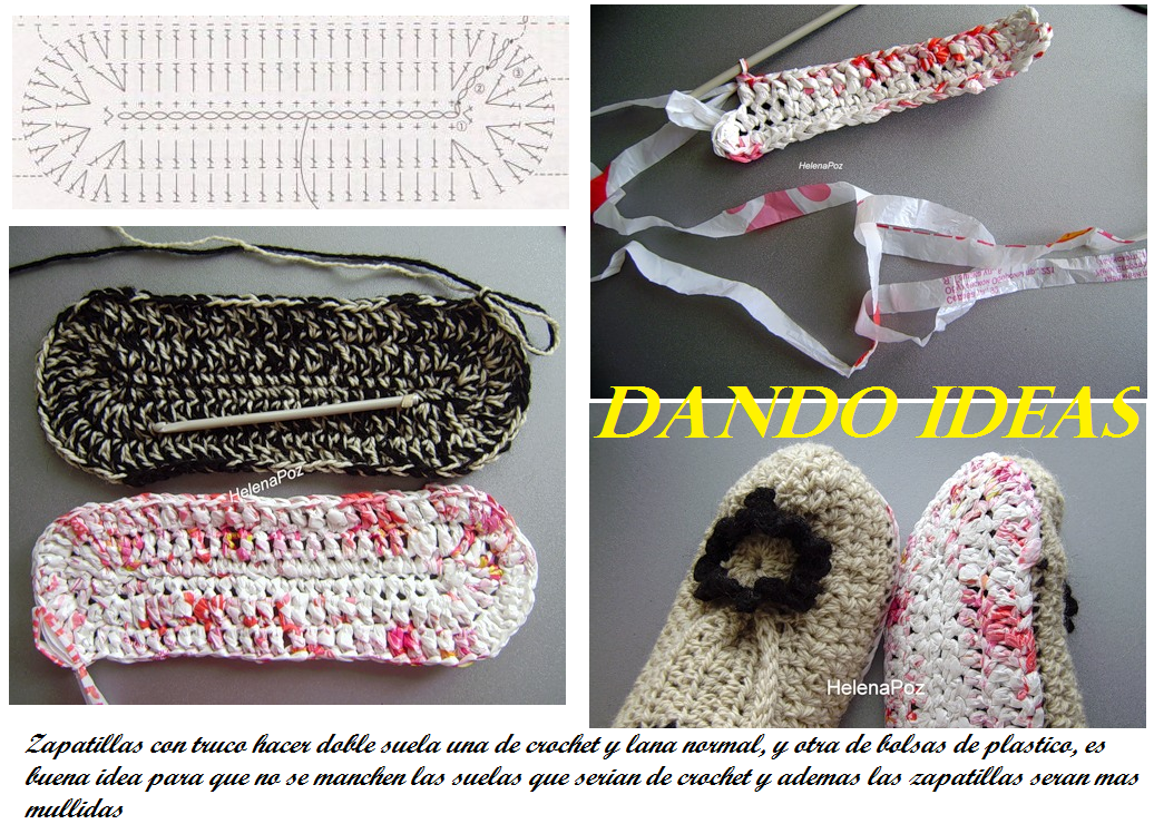 Zapatillas con 2 Suelas de Crochet y Plastico