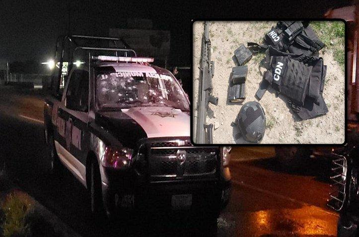 Convoy del CDN después de emboscar a municipales, abandonan 4 Trocas fuertemente armadas y equipo táctico en Coahuila
