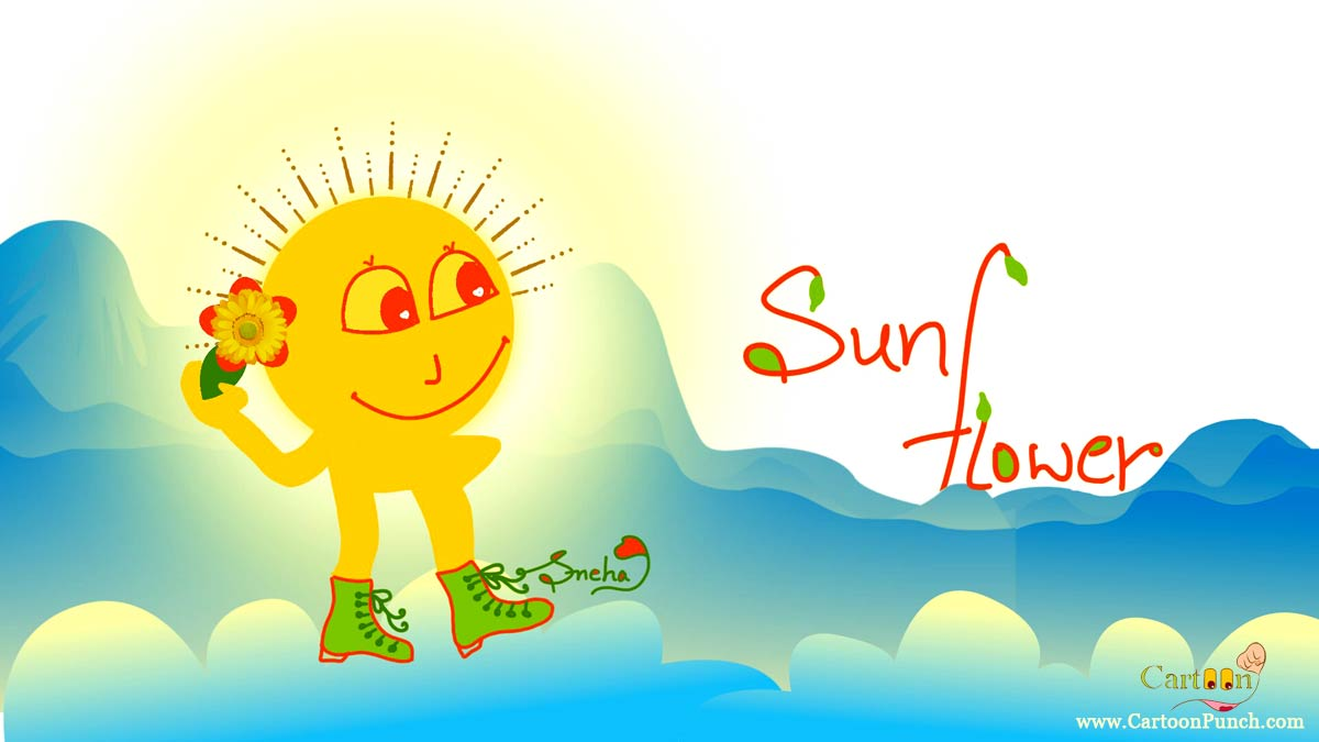 sunflower: Sun waking on clouds in sky donning Sunflower and green boots cartoons by sneha