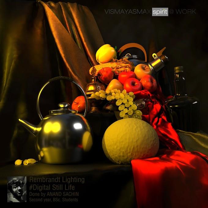 Workshop on Rembrandt Lighting...! #DigitalStillLife - Anand Sachin -Second year B.Sc. Student, Vismayasmax Animations..!!