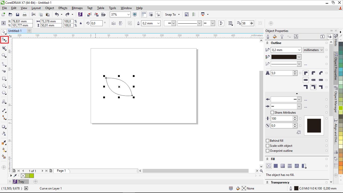 cara membuat gambar daun di corel draw menggunakan freehands tool