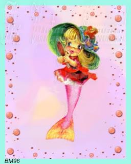 primping vintage mermaid fabric card