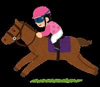 馬に乗るジョッキーのイラスト(ピンク)