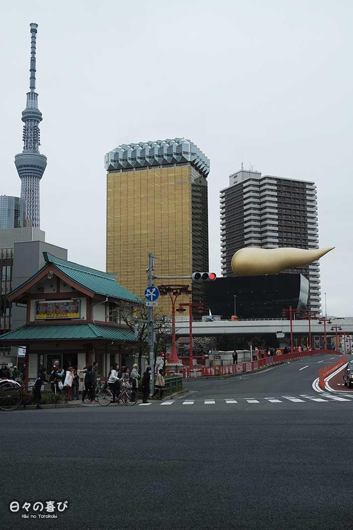 Asahi Beer Hall vue sur l'etron d'or
