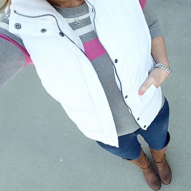 Merona Vest (similar - on sale for $20!) // Banana Republic Factory Sweater (similar) // Joes' Jeans - 33% off! // Jessica Simpson Elmont Boots - only $32 (regular $159)