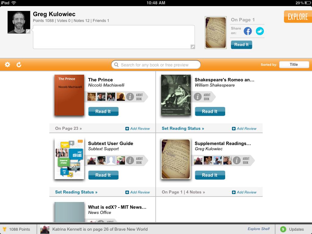 The History 2 0 Classroom: Social Reading on the iPad: Subtext X