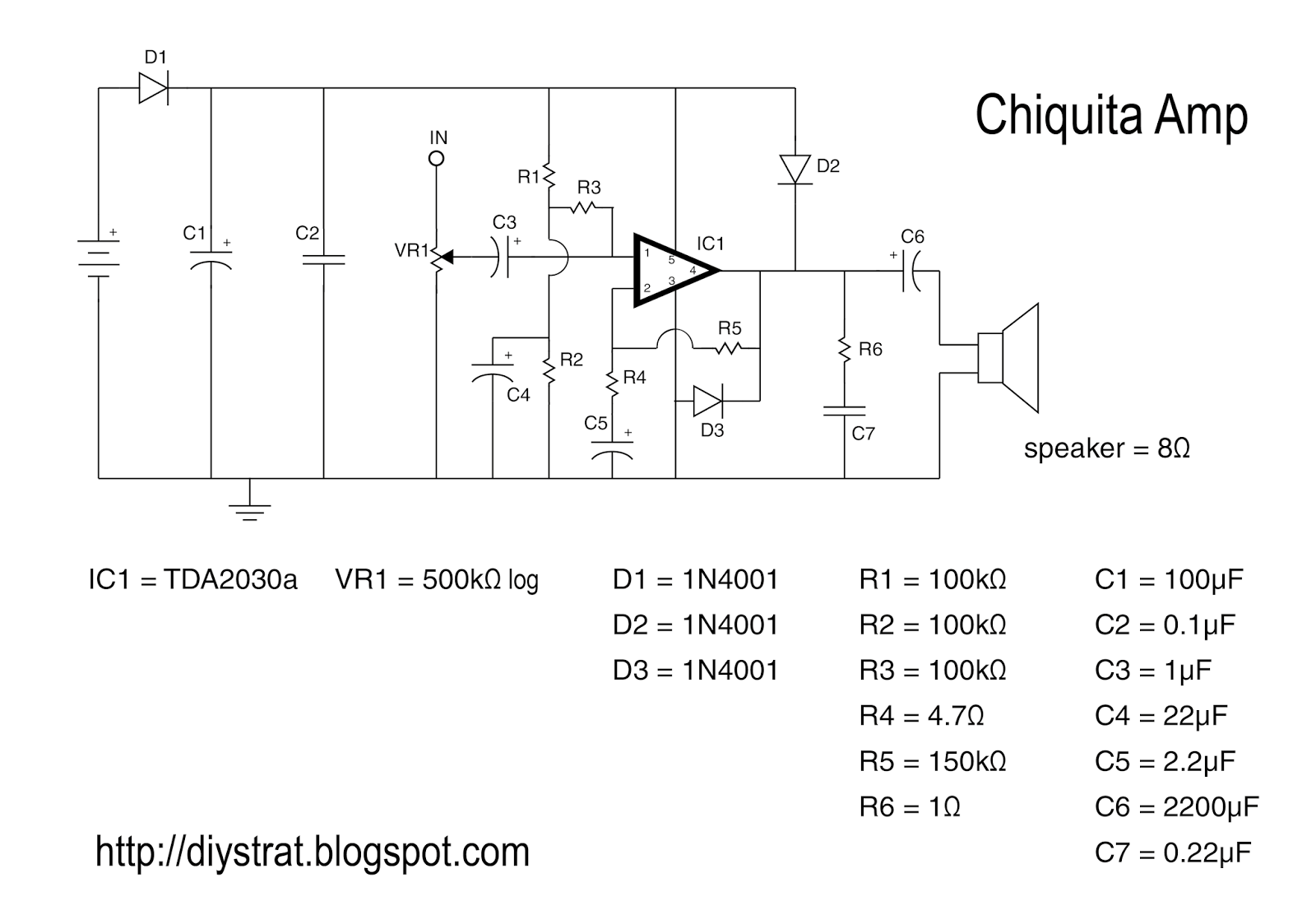 The Chiquita Amp Diy Strat And Other Guitar Audio Projects Hondo Wiring Diagram There Are Several Circuits Suggested I Cant Find Exact Schematic On Any Sheets Right Now So Ive Redrawn One Did Below Click Image