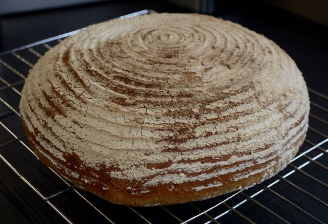 Bread made in a banneton proving basket