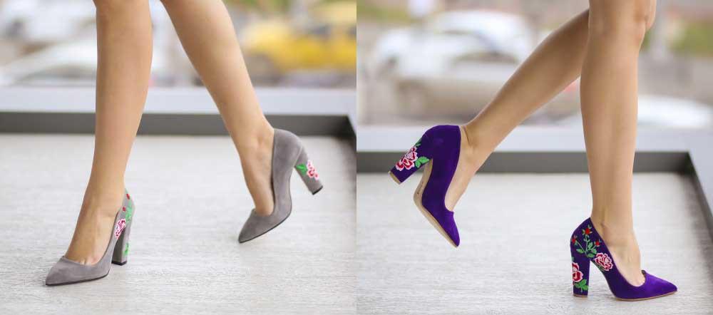 Pantofi de zi mov, gri din piele intoarsa cu toc gros ieftini