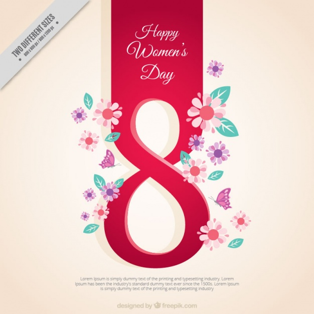 Woman's day background with number eight and floral details Free Vector