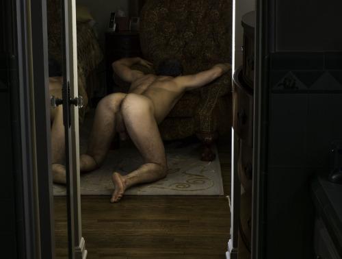 Gay men grinding dick on ass
