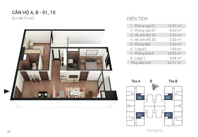 Thiết kế căn hộ 01, 10 chung cư Tứ Hiệp Plaza