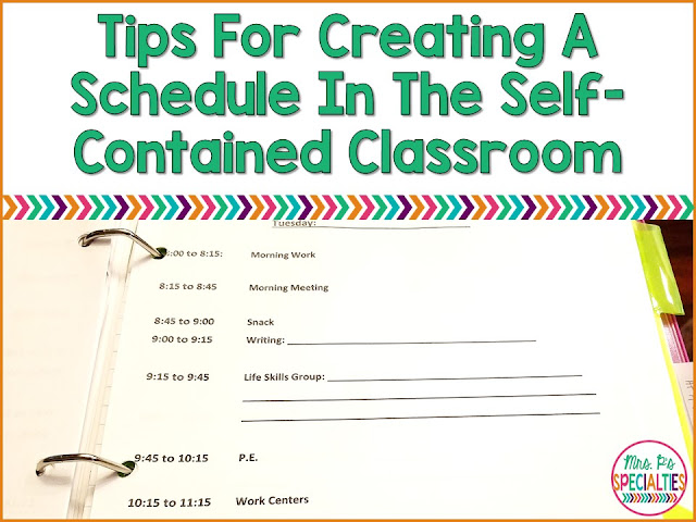 Here are tips for creating a schedule to reduce behaviors, increase on task behaviors and schedule therapies. These tips are designed for teachers who work in a self-contained special education program.