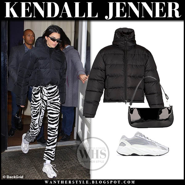 Kendall Jenner in black puffer balenciaga jacket, zebra print pants and yeezy sneakers new york fashion week outfits february 2019
