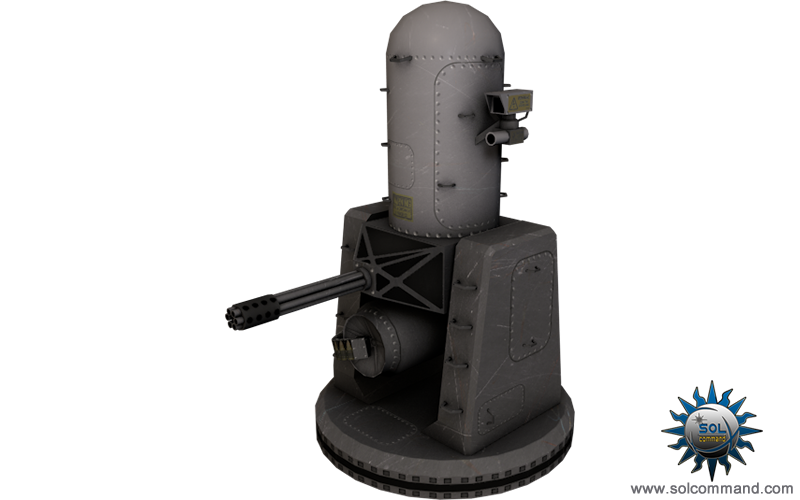 Phalanx, CIWS, anti-ship, ship, spaceship, space, scifi, sci fi, sci-fi, gun, ammo, weapon, solcommand, blog, model, mesh, texture, download, free, missile, railgun, machinegun, defense, system, close-in, large, caliber, bullet, General Dynamics Corporation, Pomona Division, Raytheon, 3D, mesh, poly, low, game ready, radar-guided, 20mm Gatling gun, swivelling base, United States Navy, surface, combat, war, Coast Guard