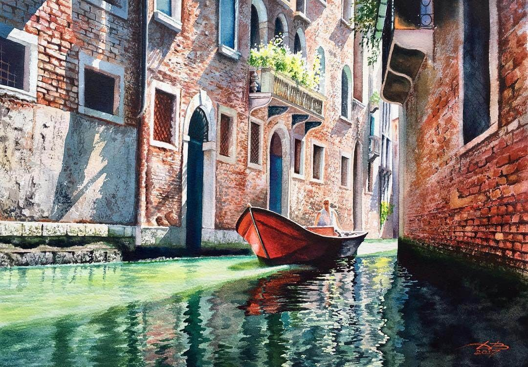 02-Venice-Igor-Dubovoy-Realistic-Urban-Watercolor-Paintings-www-designstack-co