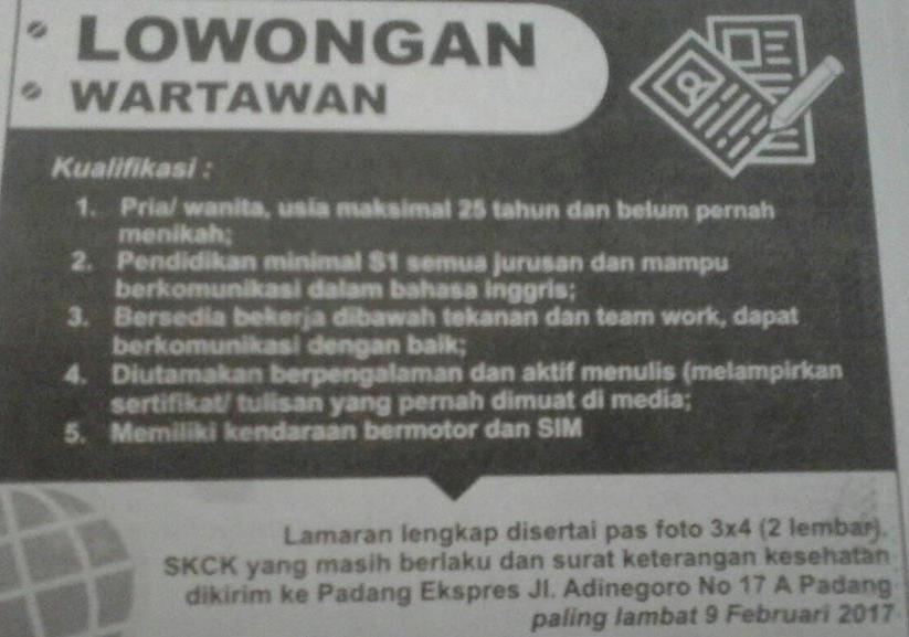 Lowongan Kerja di Padang – Padang Ekspres – Wartawan (Februari 2017)