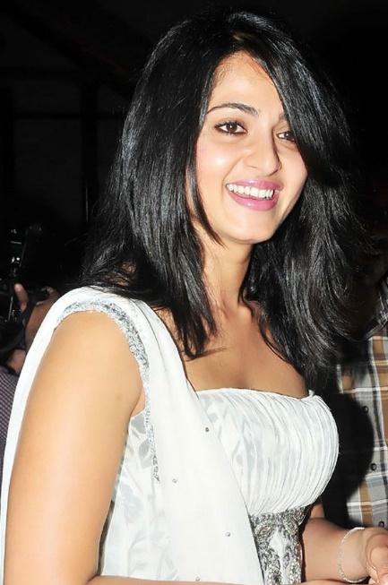 anushka shetty in white dress