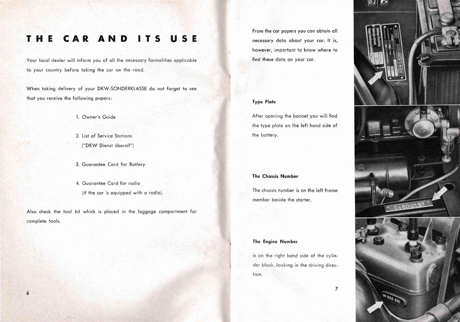 DKW Auto-Union Project: 1954 DKW Sonderklasse Owners Manual