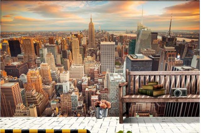 New York Wall Mural Window Skyline Sunset Manhattan City View