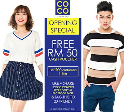 COCO Concept Store Free RM50 Cash Voucher