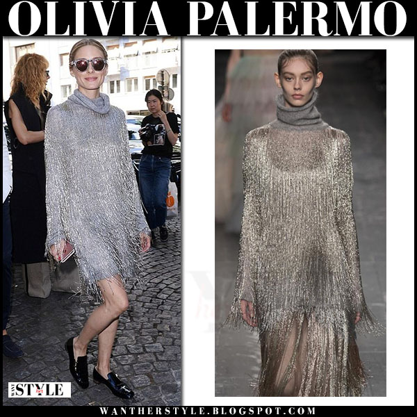 Olivia Palermo in silver Valentino dress with tassels and black flats roger vizier polly what she wore paris