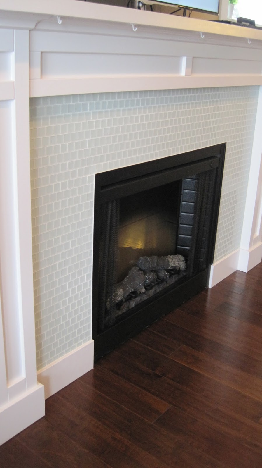 I married a tree hugger casual comfy craftsman living room for Craftsman gas fireplace