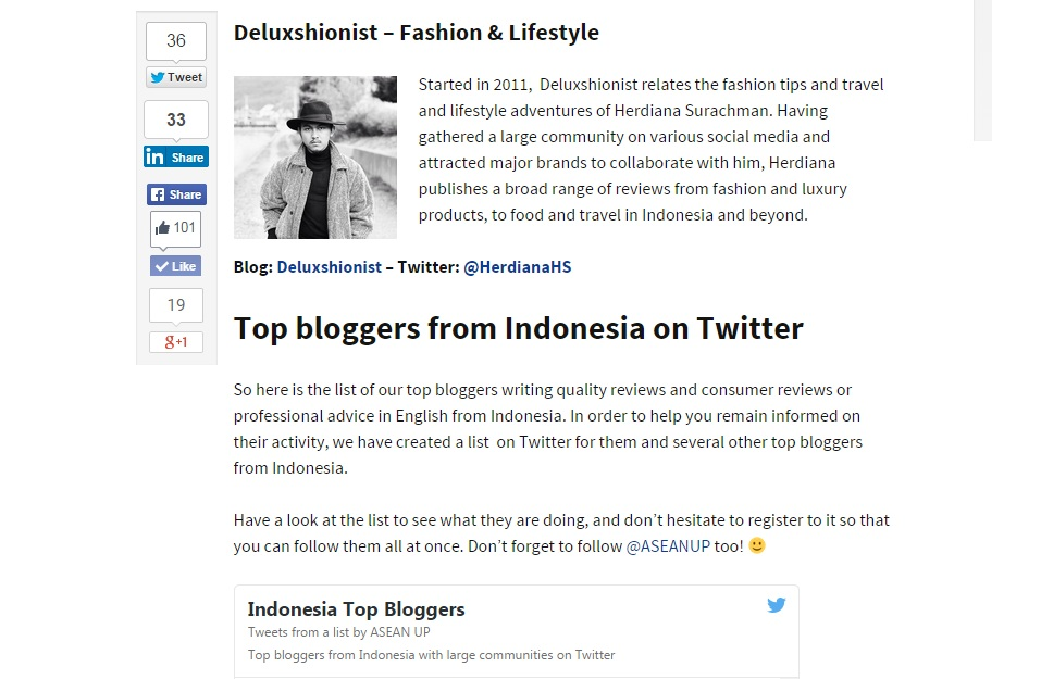 ASEAN UP 10 top bloggers from Indonesia - Herdiana Surachman Deluxshionist Lifestyle & Fashion Blog