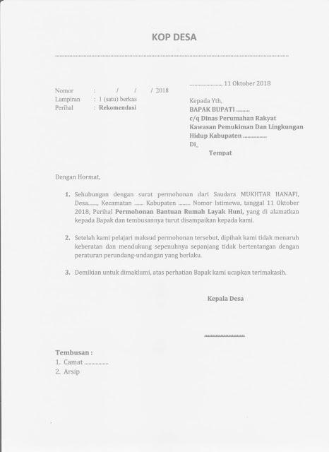 Contoh Surat Rekomendasi Kepala Desa Untuk Permohonan Bantuan Rumah Layak Huni