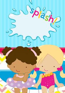 Etiquetas de Fiesta de Nenas en las Piscina para imprimir gratis.
