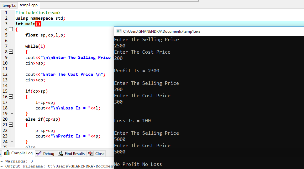 C++ Program To Determine Whether The Seller Made Profit or Loss.
