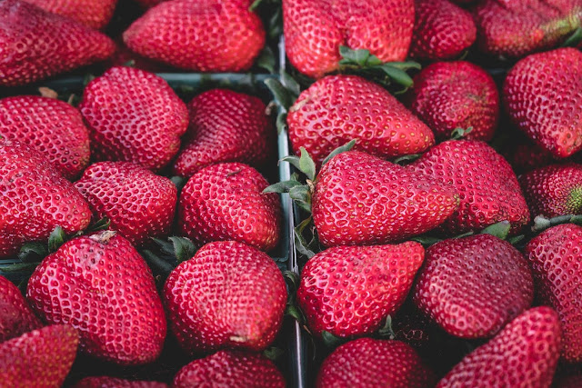 Free food stock photos and high quality images - Healthy Strawberries at Market.